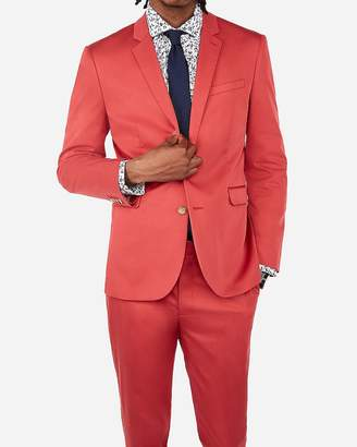 Express Extra Slim Nantucket Red Cotton Sateen Performance Stretch Suit Jacket