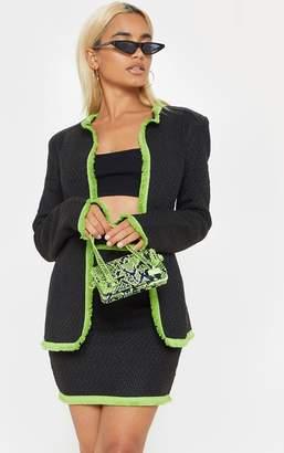 PrettyLittleThing Petite Black Boucle Fringed Trim Jacket