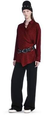 Alexander Wang Checkered Asymmetrical Long Sleeve Wrap Blouse