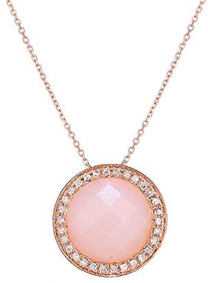 Naava Women's 9 ct Rose Gold Diamond and Pink Opal Cluster Pendant Necklace