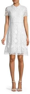 Karl Lagerfeld Paris Short Sleeve Collar Lace Dress