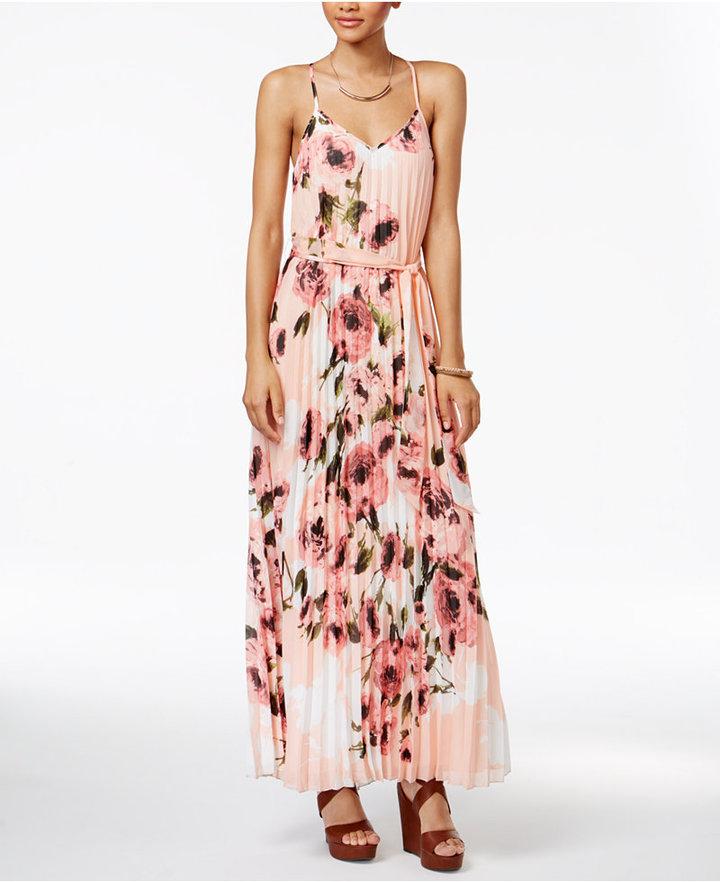 B. Darlin Juniors' Floral-Print Pleated Maxi Dress