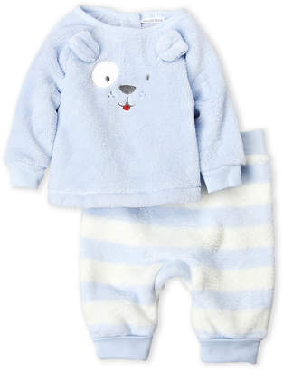 Absorba Newborn Boys) Two-Piece Embroidered Puppy Top & Stripe Plush Pants Set
