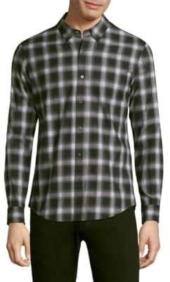 Checkered Cotton Button-Down Shirt
