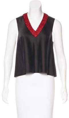 Vika Gazinskaya Lurex-Trimmed Silk Top w/ Tags Black Lurex-Trimmed Silk Top w/ Tags
