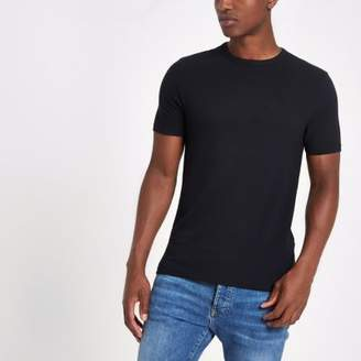 River Island Navy muscle fit crew neck pique T-shirt