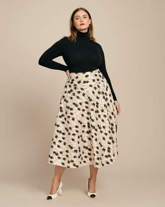Ryan Lo Jacquard Floral Midi Skirt