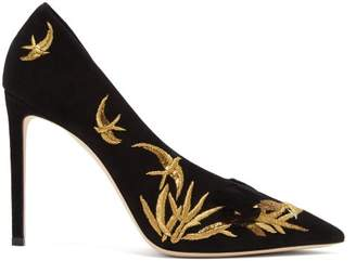 Jimmy Choo Sophia 100 Embroidered Suede Pumps - Womens - Black Gold