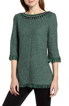Ming Wang Embellished Neck Tweed Tunic