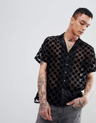 Asos Design Party Oversized Burnout Shirt With Circles