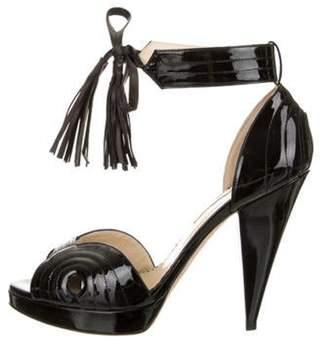 Oscar de la Renta Patent Leather Tassel-Embellished Sandals Black Patent Leather Tassel-Embellished Sandals