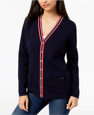 Tommy Hilfiger Cotton Striped-Trim Cardigan, Created for Macy's