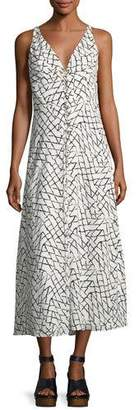 Derek Lam Net-Print Silk Georgette Slip Dress with Lacing Detail