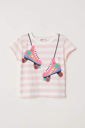 H&M T-shirt with Printed Design - White