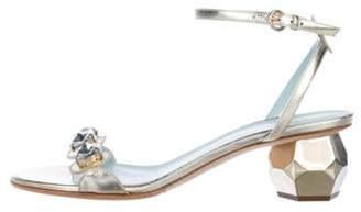 Frances Valentine Embellished Leather Sandals Metallic Frances Valentine Embellished Leather Sandals