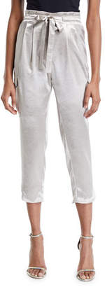 Ramy Brook Allyn Belted Charmeuse Cropped Pants