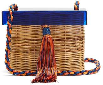 Wai wai Wai Wai - Betina Woven Rattan Box Bag - Womens - Blue Multi