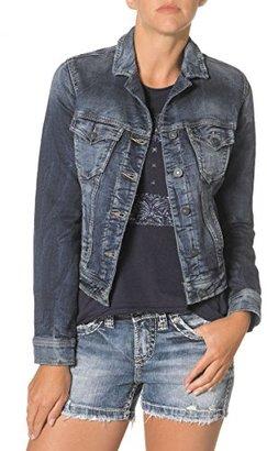 Silver Jeans Women's Long Sleeve Joga Denim Jacket $88 thestylecure.com