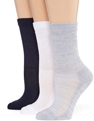 Asstd National Brand 3 Pair Crew Socks - Womens
