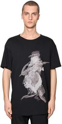 Yohji Yamamoto Over Printed Cotton Jersey T-Shirt