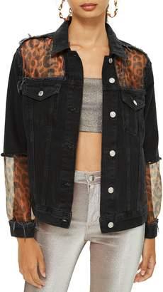 Topshop Leopard Print Organza Denim Jacket