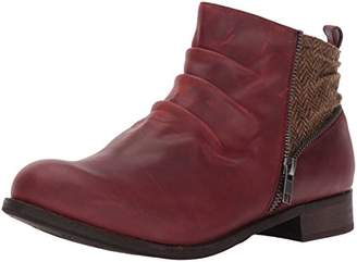 Caterpillar Women's Kiley Pleated Leather Bootie with Tweed Accents Ankle Boot