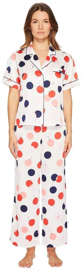 Kate Spade New York - Balloon Print Satin Pajama Set Women's Pajama Sets