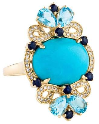 LALI Jewels 14K Turquoise, Diamond & Sapphire Cocktail Ring