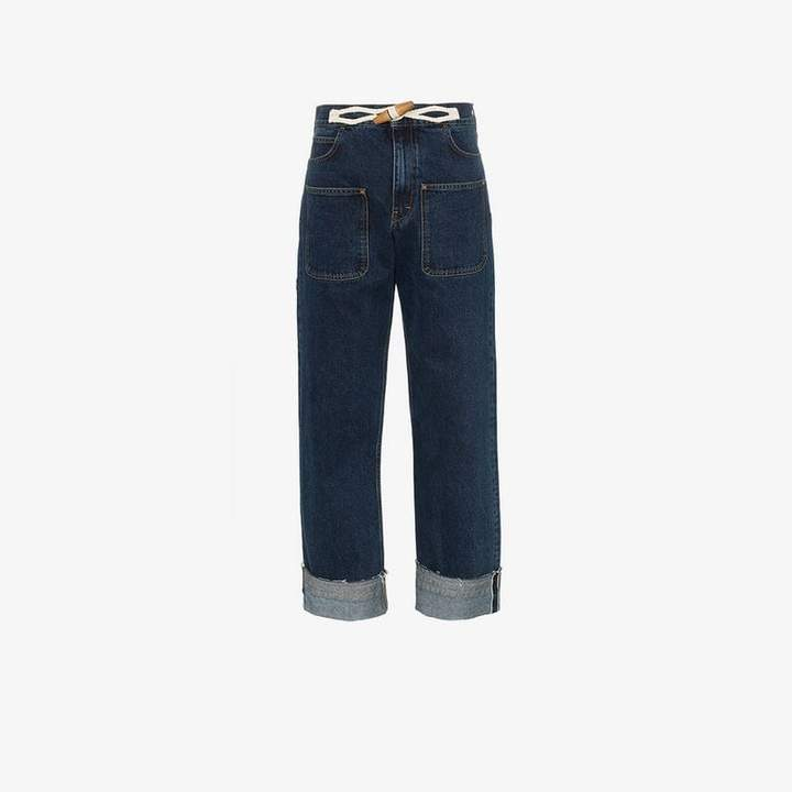 high-waisted wide-leg jeans