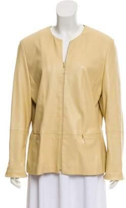 Givenchy Split Neck Leather Jacket
