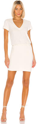 James Perse Short Sleeve V Neck Blouson Dress