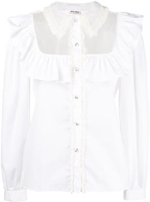 a3d83b75356 White Ruffle Front Blouse - ShopStyle UK