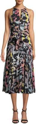 Rachel Roy Claudette Tie-Front Animal-Print Midi Dress