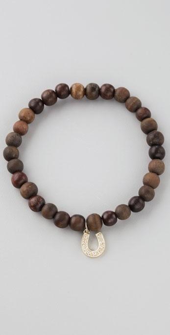 Sydney Evan Horseshoe Wood Beaded Bracelet