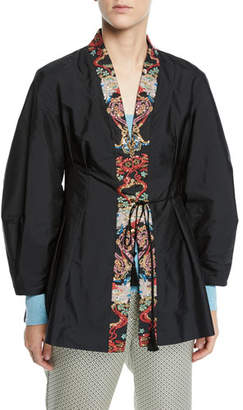 Etro Sequined-Lapel Taffeta Tie-Waist Jacket