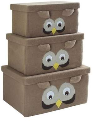 Owl Fabric Storage Box in Brown (Set of 3)