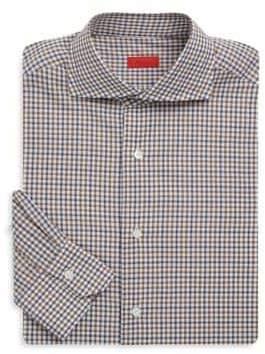 Isaia Checkered Regular-Fit Cotton Dress Shirt