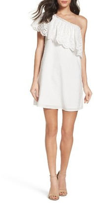 Women's Chelsea28 Eyelet One-Shoulder Dress $99 thestylecure.com