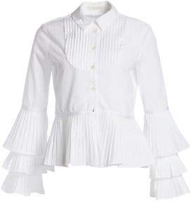Jonathan Simkhai Pleated Oxford Ruffle Blouse