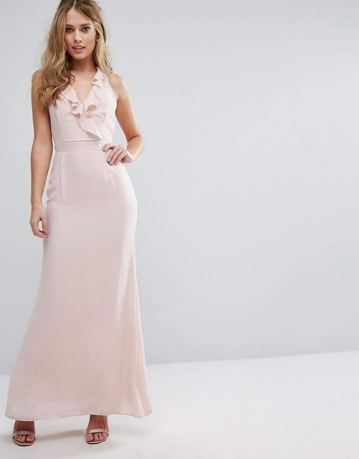 Elise Ryan Frill Maxi Dress With Straps