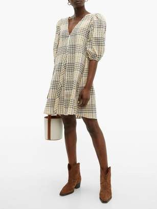 Ganni Checked Seersucker Mini Dress - Womens - Cream Multi