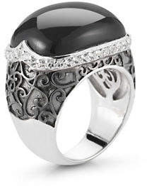 HBC DELATORI Sterling Silver Onyx and Crystal Ring