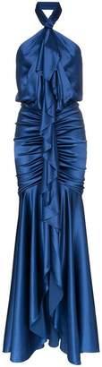 Alexandre Vauthier Silk Ruffled Halterneck Gown
