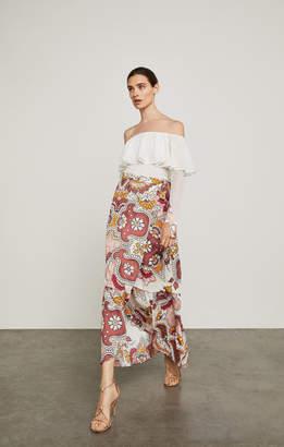 BCBGMAXAZRIA Grand Paisley Maxi Wrap Skirt