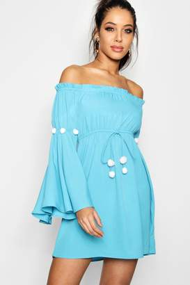 boohoo Cerys Pom Pom Bardot Beach Dress