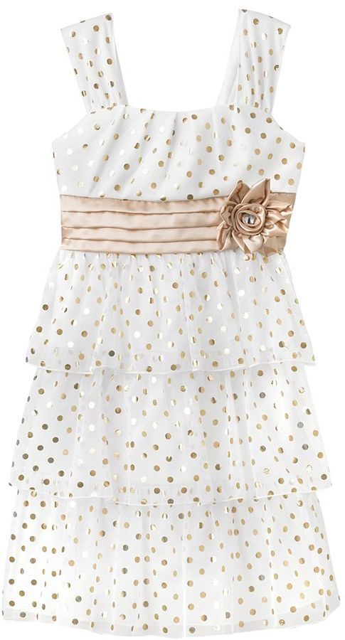My Michelle foiled dot tiered dress - girls 7-16