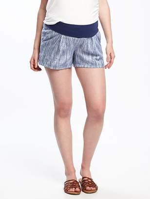 "Old Navy Maternity Roll-Panel Dobby-Linen Shorts (4"")"