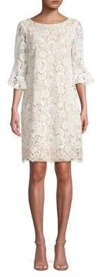 Eliza J Lace Bell-Sleeve Cotton Blend Shift Dress