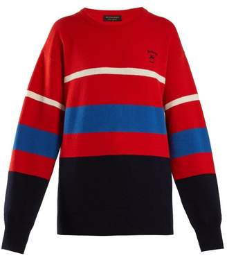 Burberry Logo Embroidered Striped Wool Sweater - Womens - Red