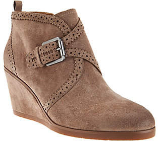 Franco Sarto Suede Monk Strap Wedge Boots -Arielle